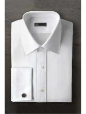 Laydown White Regular Fit Ted Baker Brand Tuxedo Shirt With Frenched