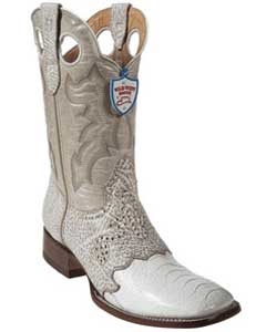 Wild West White Ostrich Leg Wild Rodeo Toe Boots