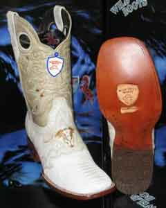 Wild West Genuine Ostrich Leg Square White Rodeo Western Cowboy Boot