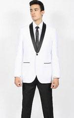 White Black Shawl Collar Slim Fit 2 Piece