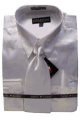 Cheap Sale Mens New White Satin Dress Shirt Tie Combinations Set