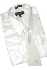Cheap Priced Sale Satin White Dress Shirt Combinations Set Tie Hanky