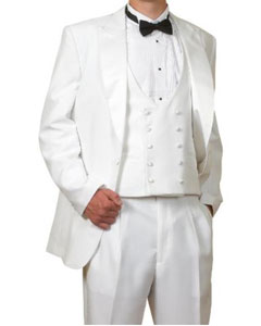 Peak Lapel Vested 3 Piece 6 Piece Complete White Tuxedo (1 Button Jacket Pants Reversible Vest)