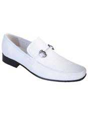 Mens White Genuine Teju Lizard Slip On Loafer Los Altos Shoes