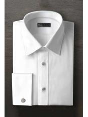 Laydown White Textured Tuxedo Shirt With Frenched Cuffed Ted Baker Brand