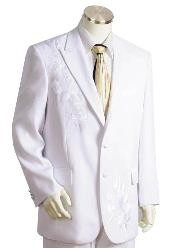 Floral Design Single Breasted Two Button Closure White Suits