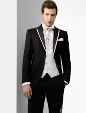 Black and White Trimmed Lapel Two Toned  Tuxedo Notch Lapel or Peak lapel 100% Wool