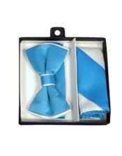 Polyester White / Turquoise Satin dual colors classic Bowtie with hankie