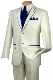 Tuxedo Navy ~ Midnight blue Trim Microfiber Two Button Notch 5-Piece Choice of Solid White or Ivory