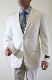 Tazio Mens White Tonal Fine Pinstripe 2 Button Suit