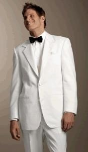 White Mens 2 Button Style Tuxedo Dress Suits