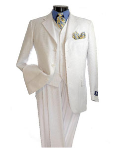 Elegant White Shadow tone on tone Pinstripe Available in 2 button Vested Suit