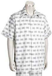Mens Short Sleeve 2piece White ~ Grey Casual Walking Suit