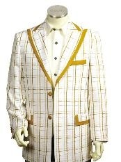 Gold Two Button Big Checks Mens Two Tone Blazer/Suit/Tuxedo