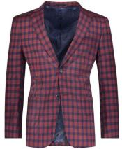 Slim Fit Plaid ~ Windowpane ~ Checker Mens Blazer Burgundy/Royal