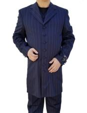 Single Breasted Windowpane ~ Plaid Pattern Button Closure Dark Navy Blue Suit For Men Zoot