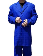 Button Closure Windowpane ~ Plaid Pattern Notch Lapel Royal Blue Zoot Dress Suits for Men