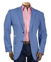 Mens Checker ~ Plaid ~ Windowpane Mens Royal Blue Blazer ~ Sportcoat ~ Jacket