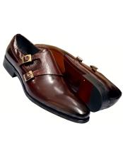 Mens Genuine Calfskin Leather Wine Burnished Double Monk Strap Shoes