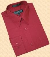 ~ Maroon ~ Wine Color Cotton Blend Dress Shirt With Convertible
