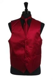 Rib Pattern Dress Tuxedo Wedding Vest Tie Set Burgundy ~ Maroon