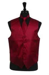 A I S L E Y tone on tone Dress Tuxedo Wedding Vest Tie Set Burgundy ~
