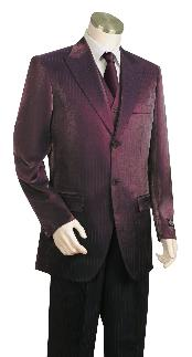 Fashionable Wine Shiny Flashy Sharkskin Peak Lapel Vested 3 Piece