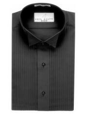 "Wing Tip Collared Black 1/4"" Pleats Tuxedo Shirt"