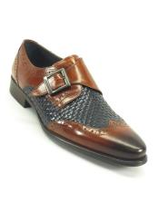 Carrucci Mens Wing Tip Toe Brown/Navy Woven Buckle Style Loafer Shoe