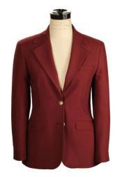 Womens Belle Fit Wrinkle Resistant Burgundy ~ Wine ~ Maroon Color Blend Hopsack Made in USA Blazer