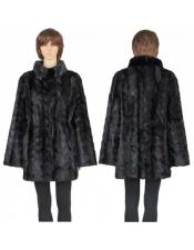 Black Genuine Mink Paws 3/4 Coat Insulated Interior Jacket
