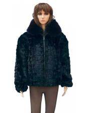 Black Genuine Mink With Fox Collar Two Side Pockets Jacket