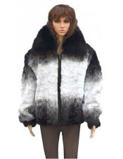 Black / White Diamond Mink Jacket With Fox Collar