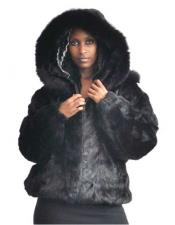 Black Pieces Genuine Mink Pull Up Zipper Two Side Pockets Jacket