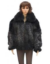 Handmade Blue Iris Genuine Mink Fox Collar Jacket
