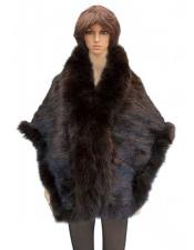 Fur Brown Genuine Knitted Mink Cape With Fox Trimming