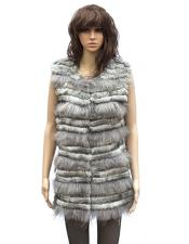 Fur Grey Genuine Rabbit 3/4 Vest