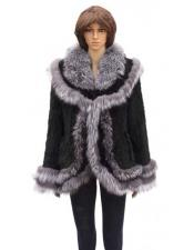 Silver Fox Trimming Black Genuine Knitted Mink Cape Jacket