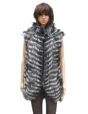 Handmade Fox Vest in Natural Silver Fox Color Jacket