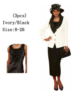 3 Piece Dress Set Ivory/Black