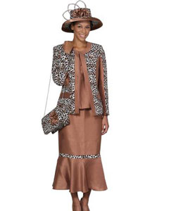 3 Piece Dress Set Camel ~ Khaki/Print