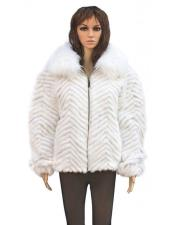White Chevron Mink Jacket