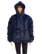 Fur Navy Blue Full Skin Genuine Rabbit Jacket