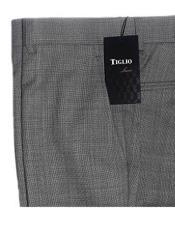 Mens 100% Wool Slim Fit Gray Flat Front Pants