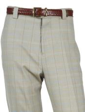 Wool PinStripe Designed Flat Front Seafoam Pant No Pleated Classic Fit Plaid ~ Window unhemmed unfinished bottomPane