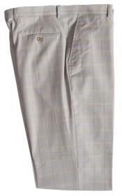 Wool Pinstripe Designed Flat Front Stone Pant No Pleated Classic Fit Plaid ~ Window Pane unhemmed unfinished