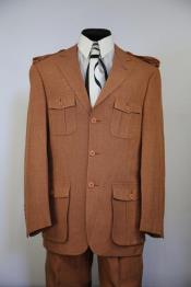 Rust - Copper - Burnt Rust leisure Safari Military suit Suit