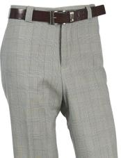 Mens Wool Tartan Designed Flat Front Green Pant No Pleated Classic Fit Plaid ~ Window Pane