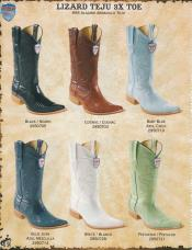 Western Lizard Teju 3X-Toe Black/Cognac/Baby Blue/Pistachio/White cushioned leather Boots
