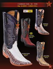 Los Altos Mens 3X Toe Genuine caiman ~ World Best Alligator ~ Gator Skin Tail Cowboy Western